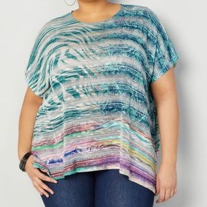 Avenue 26/28 ABSTRACT Zebra PONCHO Blouse